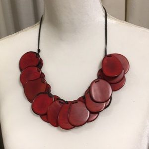 Jewelry - RED AND BLACK DISKS NECKLACE NWOT NECKLACE